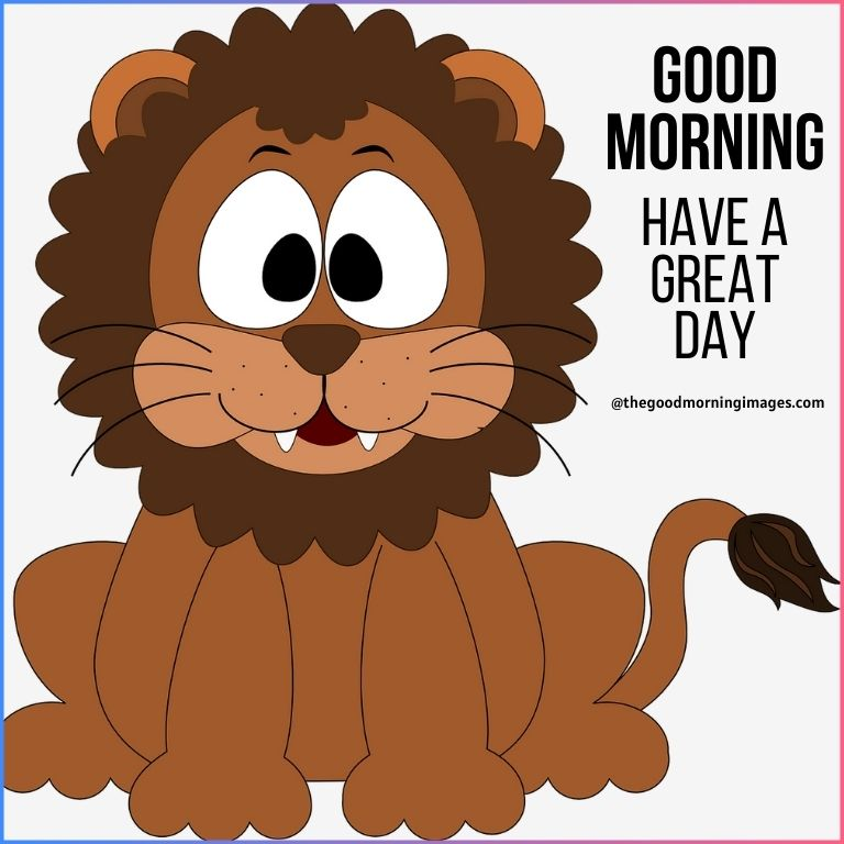 good morning lion cartoon pictures