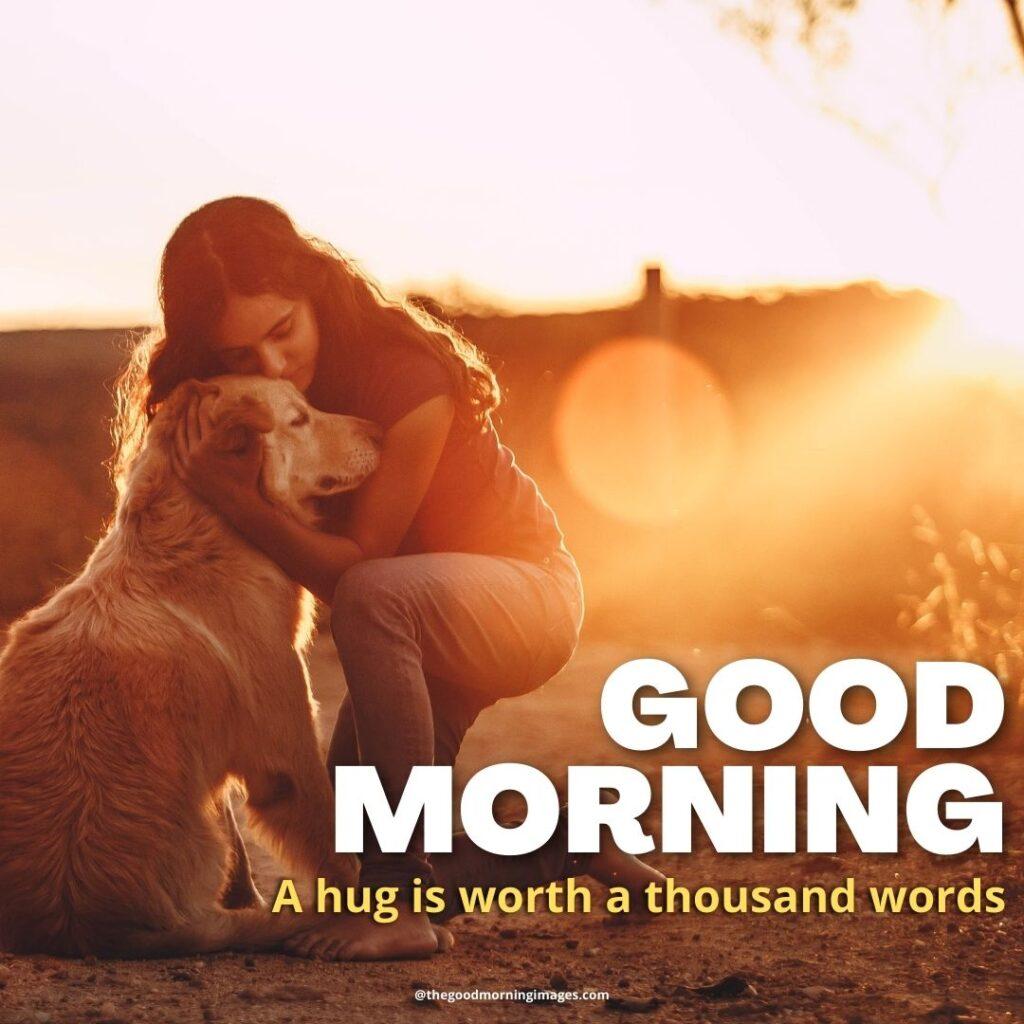 good morning Hug images dog